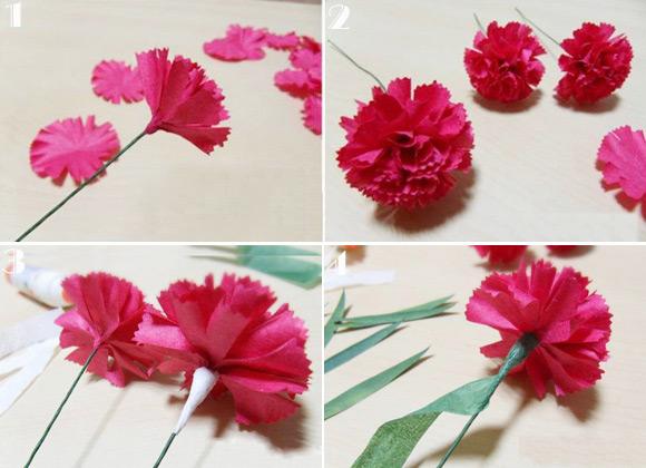 Cách làm hoa cẩm chướng bằng giấy nhún đơn giản đẹp mê ly